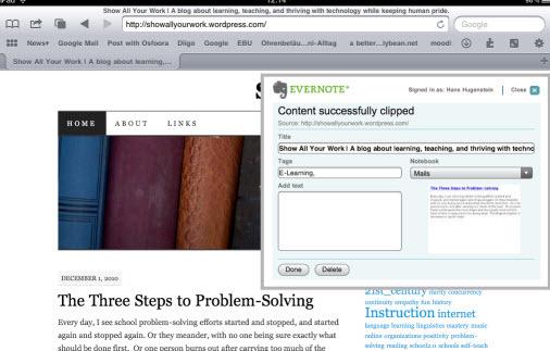 Web Clipper - auch auf iPhone und iPad