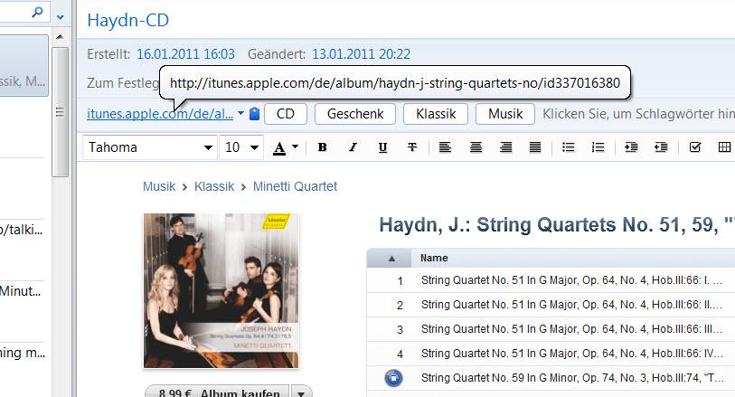 Minitipp: Haydn für Evernote