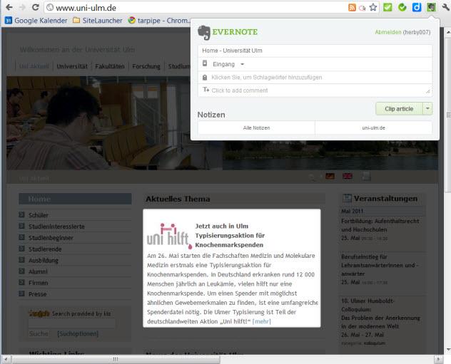 neue Erweiterung für den Browser Chrome