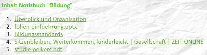 Inhaltsverzeichnis für Notizbücher