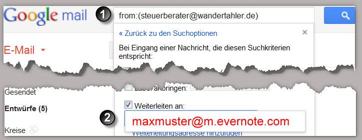 Mails automatisch an Evernote senden