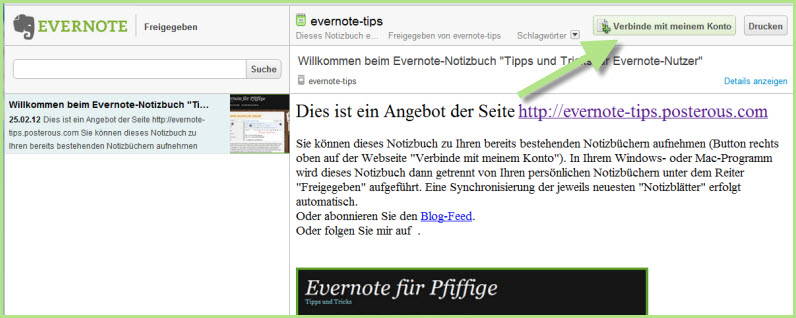 Beta: Evernote-Notizbuch angelegt