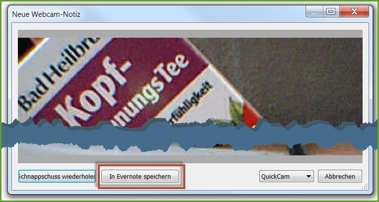 Webcam-Notiz mit einem Klick