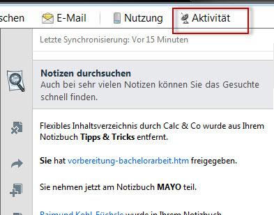 Windows-Anwendung: Liste der Aktivitäten