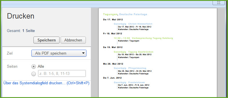 Google-Kalender in Evernote sichern
