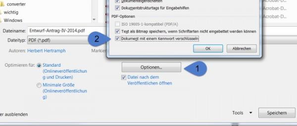 Passwortschutz im Word-Dialog